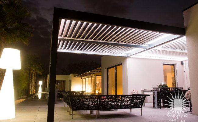 Eclairage pour pergolas bioclimatiques luxe Montpellier